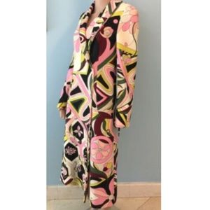 Womens Emilio Pucci Floral Long Coat Virgin Wool 8